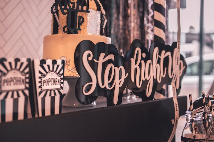 Monochromatic Step Right Up Sign from a Vintage Halloween Carnival Party on Kara's Party Ideas | KarasPartyIdeas.com (6)