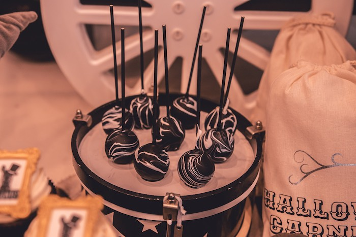 Black & White Halloween Cake Pops from a Vintage Halloween Carnival Party on Kara's Party Ideas | KarasPartyIdeas.com (29)