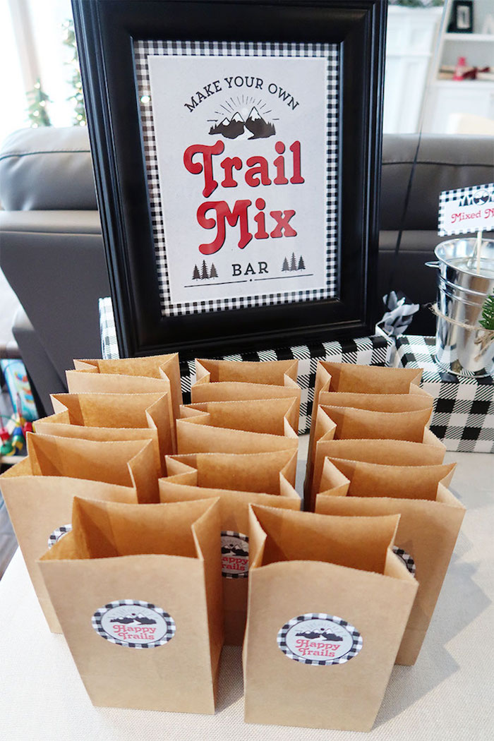 Trail Mix Sacks + Signage from a Winter Plaid Indoor Camping Party on Kara's Party Ideas | KarasPartyIdeas.com (19)