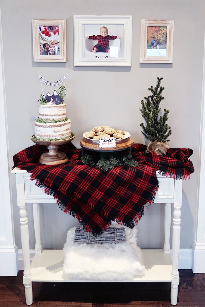 Plaid Cake + Dessert Table from a Winter Plaid Indoor Camping Party on Kara's Party Ideas | KarasPartyIdeas.com (16)