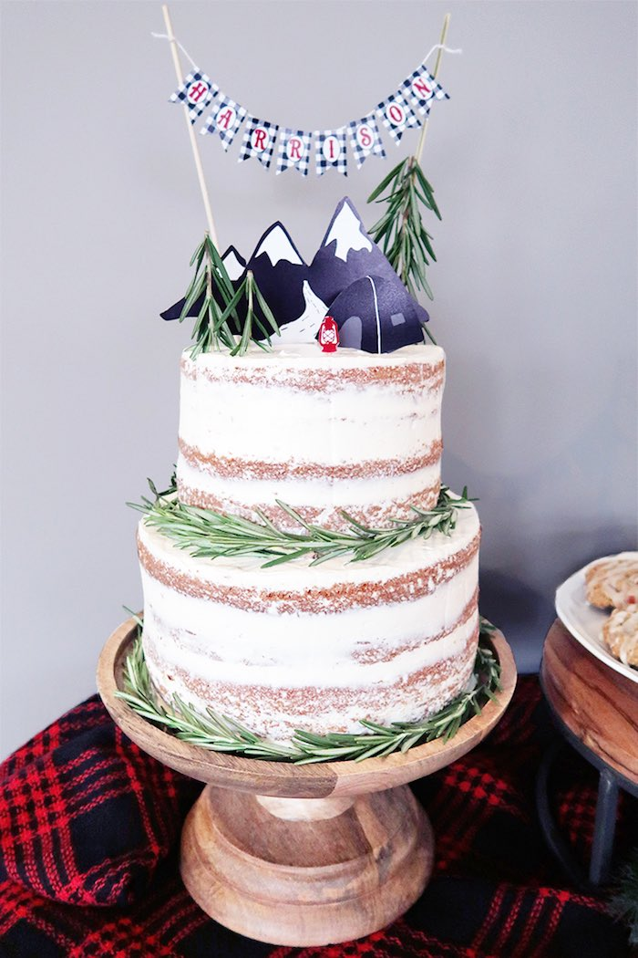Camping-inspired Naked Cake from a Winter Plaid Indoor Camping Party on Kara's Party Ideas | KarasPartyIdeas.com (15)