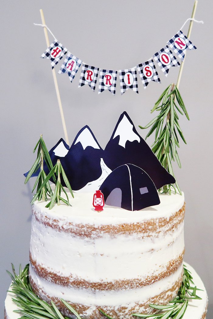 Campsite Mountain Cake Topper from a Winter Plaid Indoor Camping Party on Kara's Party Ideas | KarasPartyIdeas.com (14)