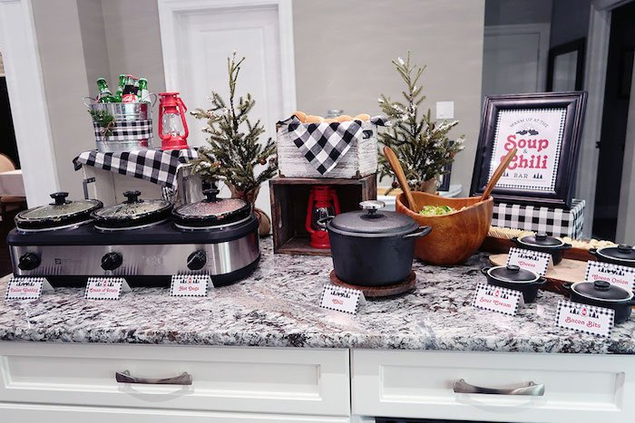 Chili Bar from a Winter Plaid Indoor Camping Party on Kara's Party Ideas | KarasPartyIdeas.com (10)