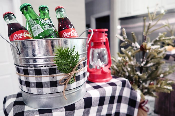 Galvanized Metal Drink Bin adorned with Plain Ribbon and Sprigs from a Winter Plaid Indoor Camping Party on Kara's Party Ideas | KarasPartyIdeas.com (9)