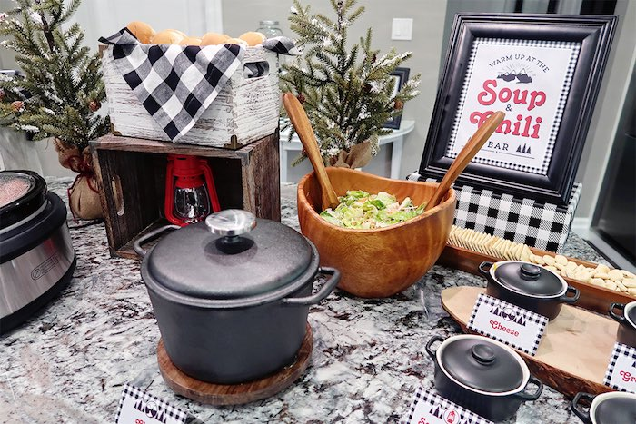 Chili Bar from a Winter Plaid Indoor Camping Party on Kara's Party Ideas | KarasPartyIdeas.com (8)