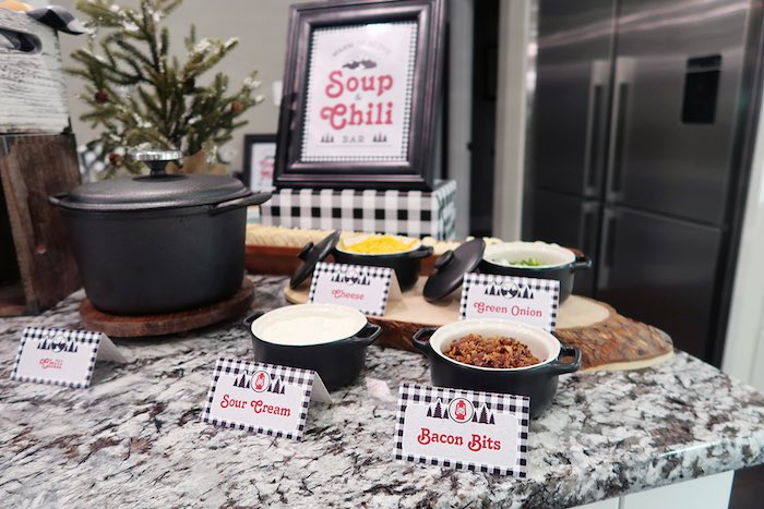 Chili Bar Toppings from a Winter Plaid Indoor Camping Party on Kara's Party Ideas | KarasPartyIdeas.com (7)