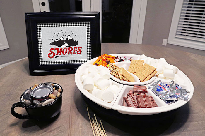 S'more Buffet from a Winter Plaid Indoor Camping Party on Kara's Party Ideas | KarasPartyIdeas.com (6)