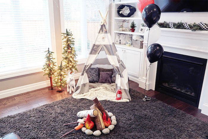 Kara S Party Ideas Winter Plaid Indoor Camping Party Kara S Party Ideas