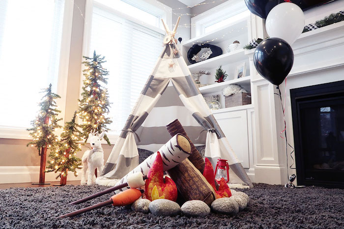 Plush Campfire from a Winter Plaid Indoor Camping Party on Kara's Party Ideas | KarasPartyIdeas.com (27)
