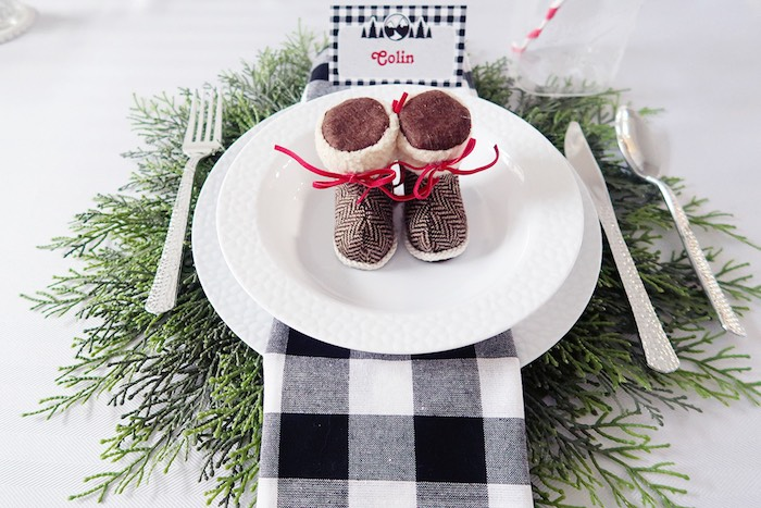 Rustic Chic Camping-inspired Table Setting from a Winter Plaid Indoor Camping Party on Kara's Party Ideas | KarasPartyIdeas.com (26)