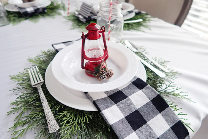 Rustic Chic Camping-inspired Table Setting from a Winter Plaid Indoor Camping Party on Kara's Party Ideas | KarasPartyIdeas.com (25)