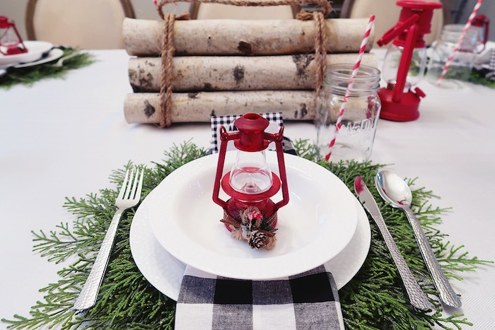 Rustic Chic Camping-inspired Table Setting from a Winter Plaid Indoor Camping Party on Kara's Party Ideas | KarasPartyIdeas.com (24)