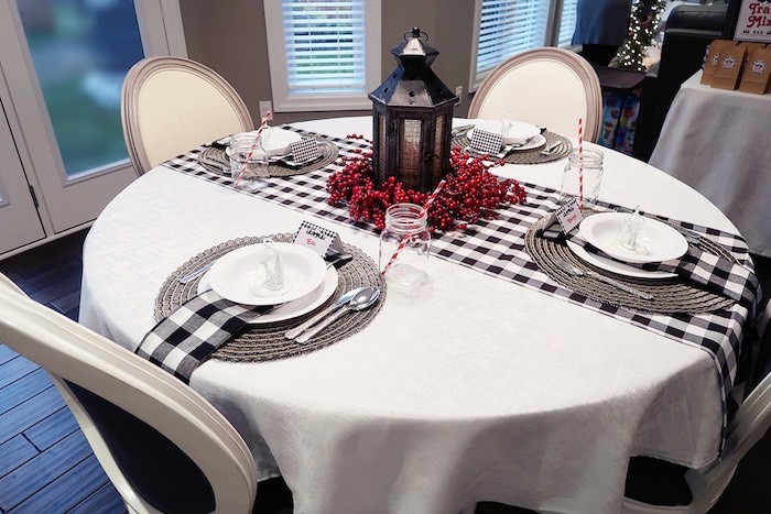 Plaid-inspired Dining Table from a Winter Plaid Indoor Camping Party on Kara's Party Ideas | KarasPartyIdeas.com (23)