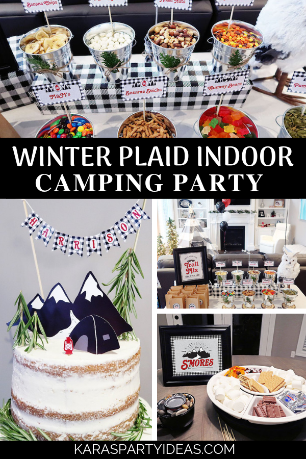 Winter Plaid Indoor Camping Party via Kara's Party Ideas - KarasPartyIdeas.com