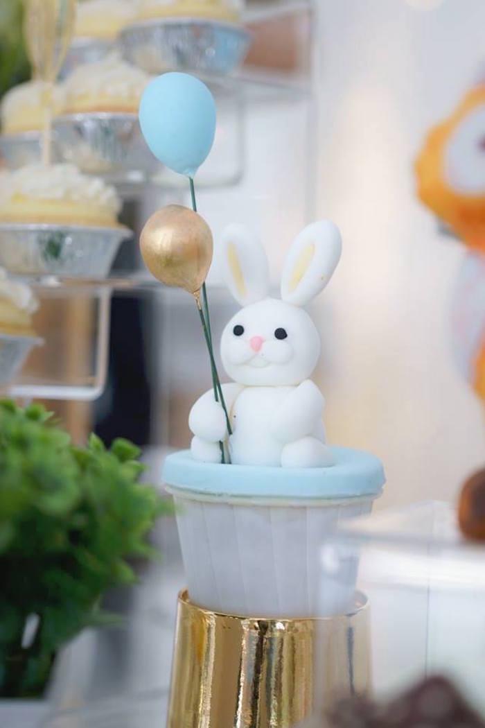 Bunny Balloon Cupcake + Topper from a Woodland Hot Air Balloon Birthday Party on Kara's Party Ideas | KarasPartyIdeas.com (10)