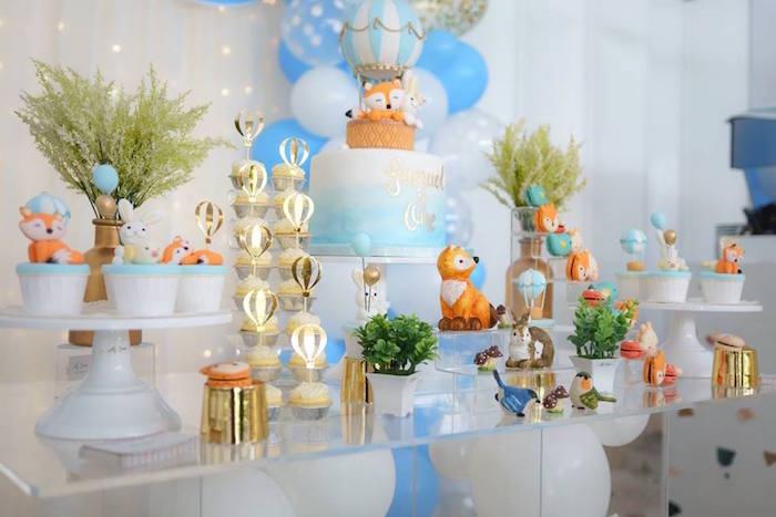 Woodland Animal Dessert Table from a Woodland Hot Air Balloon Birthday Party on Kara's Party Ideas | KarasPartyIdeas.com (3)