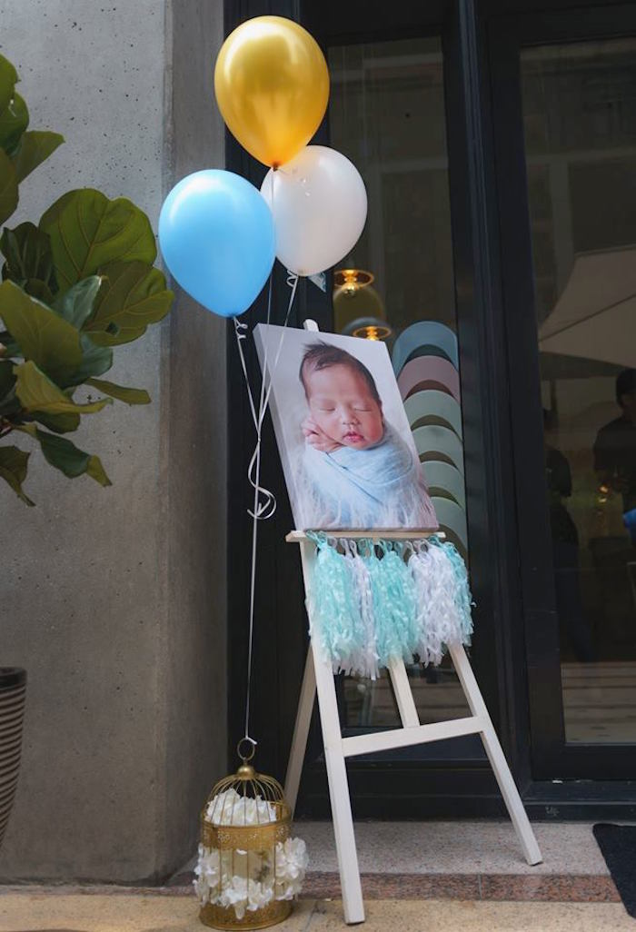 Newborn Print Welcome Sign from a Woodland Hot Air Balloon Birthday Party on Kara's Party Ideas | KarasPartyIdeas.com (19)