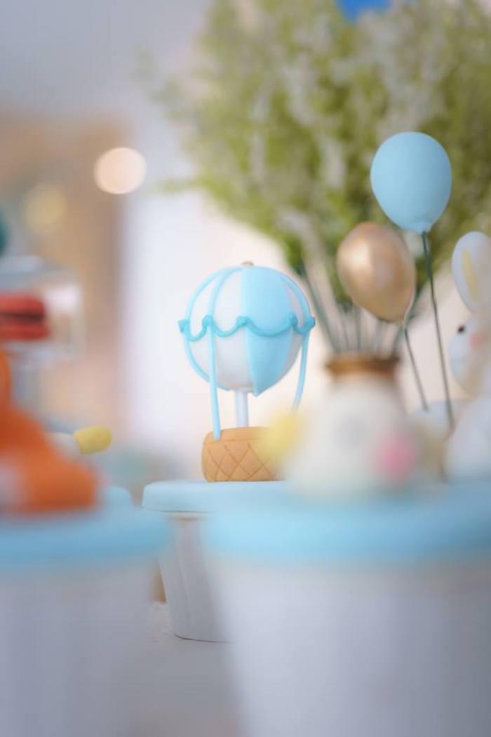 Hot Air Balloon Cupcake + Topper from a Woodland Hot Air Balloon Birthday Party on Kara's Party Ideas | KarasPartyIdeas.com (12)