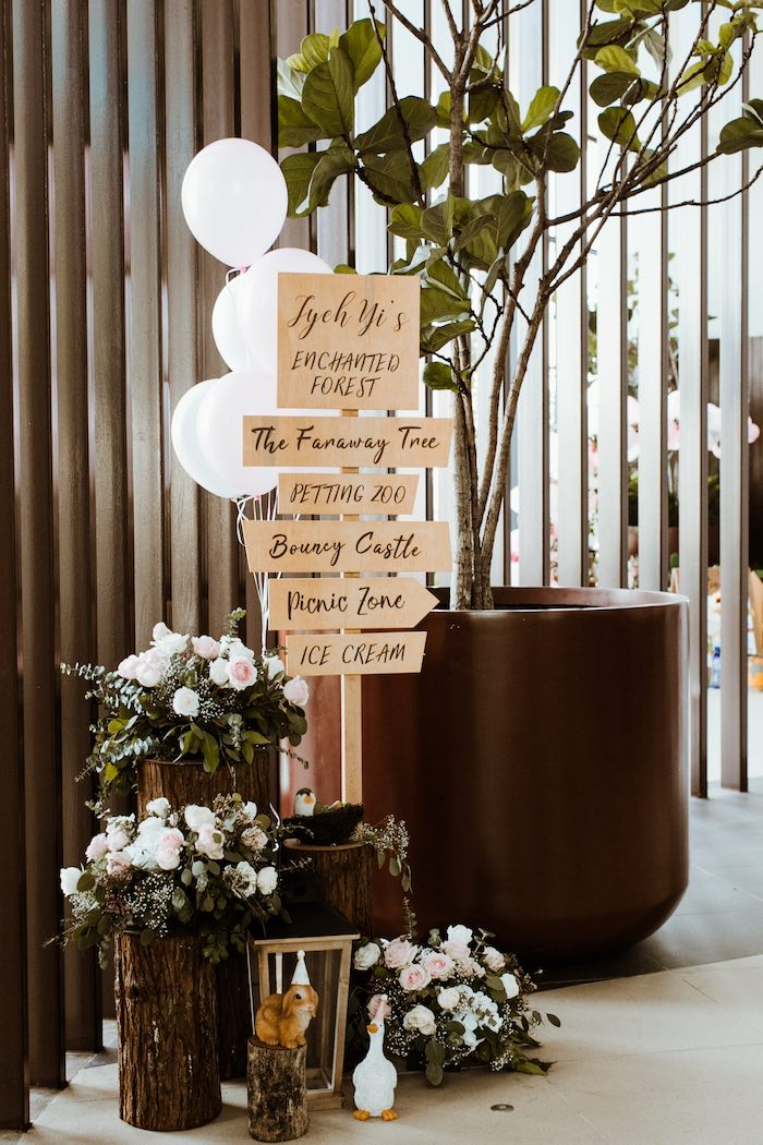 Woodland Party Entrance Signage from an Enchanted Woodland Forest Birthday Party on Kara's Party Ideas | KarasPartyIdeas.com