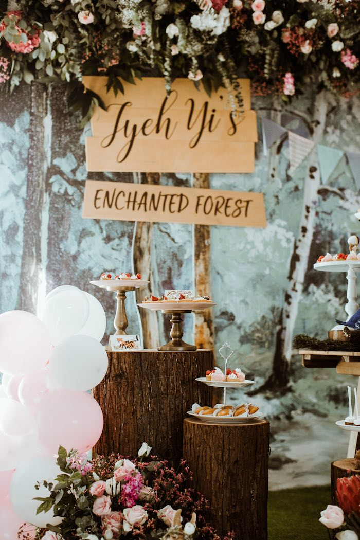 Tree Stump Dessert Tables + Enchanted Forest Signage from an Enchanted Woodland Forest Birthday Party on Kara's Party Ideas | KarasPartyIdeas.com