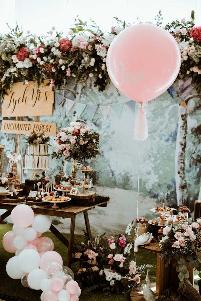 Cake Table & Backdrop from an Enchanted Woodland Forest Birthday Party on Kara's Party Ideas | KarasPartyIdeas.com