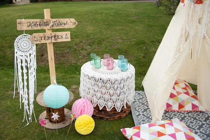 "Kidchella Festival Table from a ""Kidchella"" Boho Coachella Birthday Party for Kids on Kara's Party Ideas 
