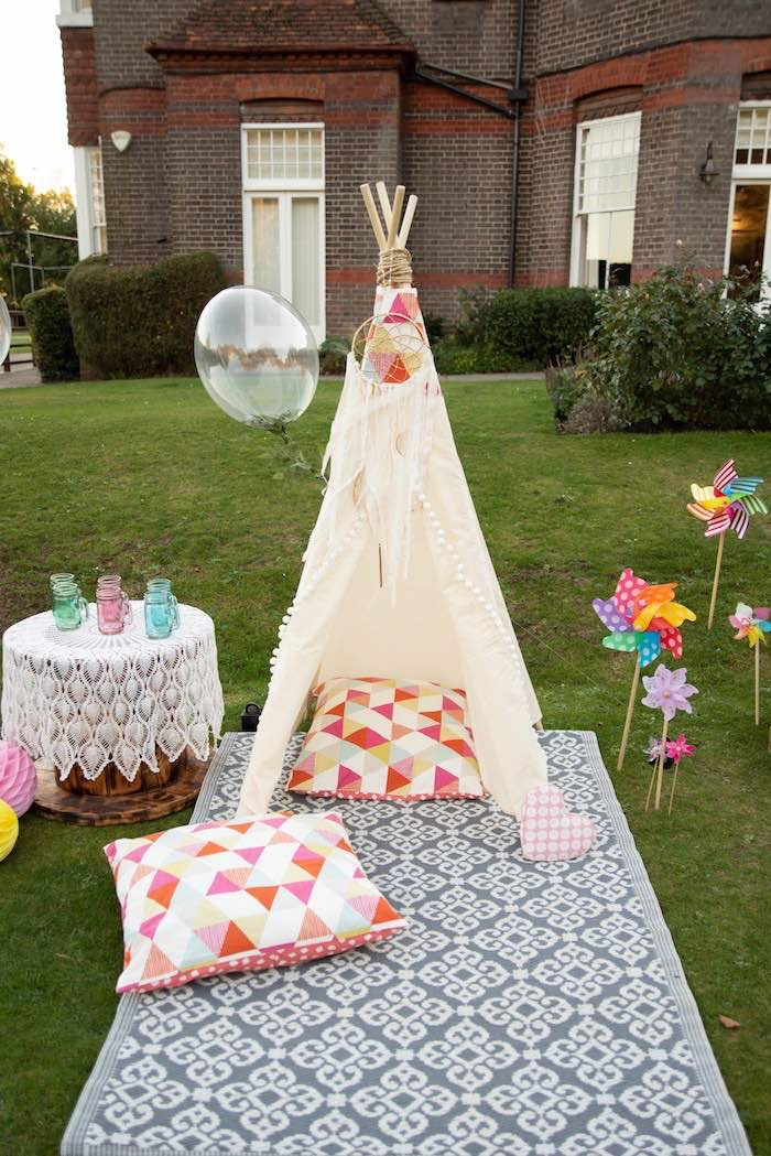 "Kidchella Teepee Lounge from a ""Kidchella"" Boho Coachella Birthday Party for Kids on Kara's Party Ideas 