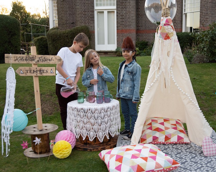 "Kidchella Teepee from a ""Kidchella"" Boho Coachella Birthday Party for Kids on Kara's Party Ideas 
