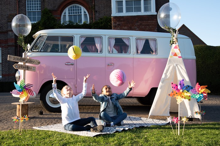 "Pink VW Van from a ""Kidchella"" Boho Coachella Birthday Party for Kids on Kara's Party Ideas 