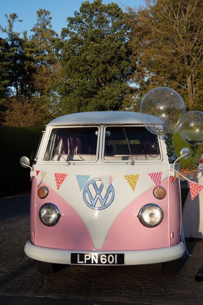 "Pink Vintage VW Van from a ""Kidchella"" Boho Coachella Birthday Party for Kids on Kara's Party Ideas 