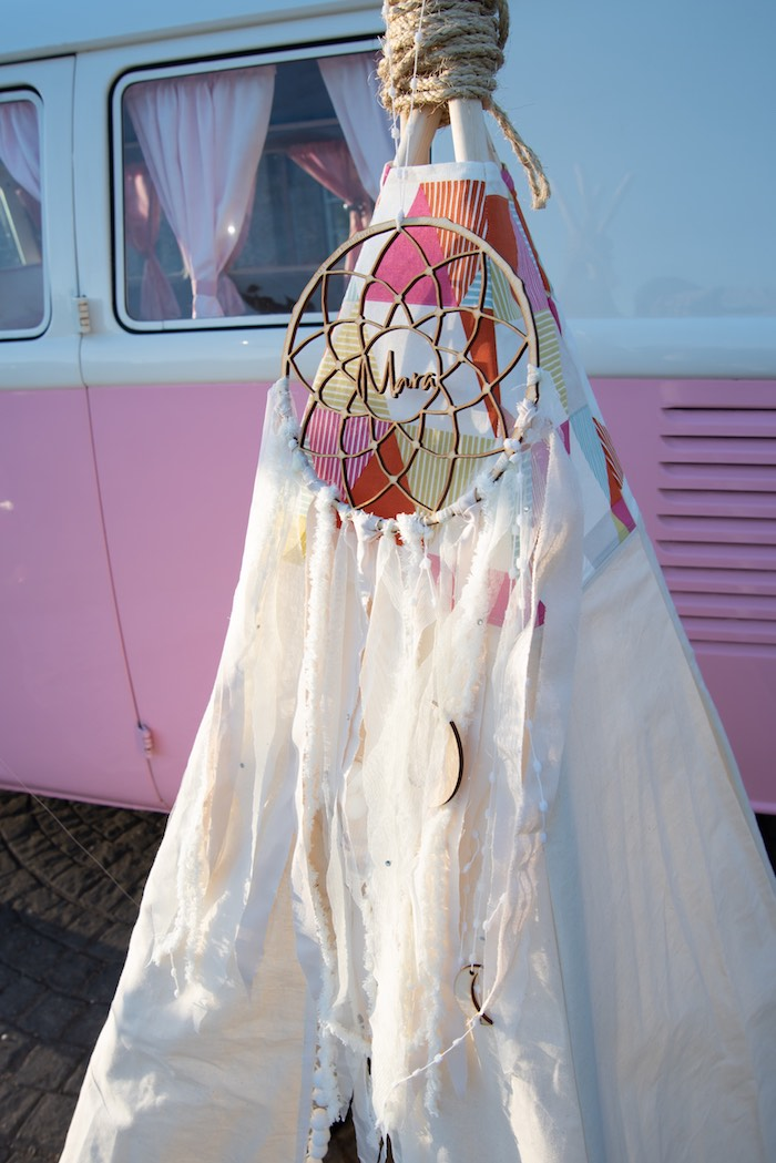 "Custom Dreamcatcher from a ""Kidchella"" Boho Coachella Birthday Party for Kids on Kara's Party Ideas 