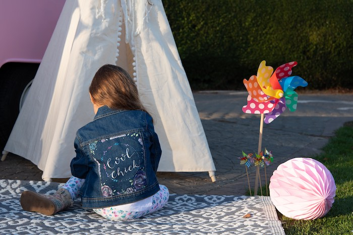 "Cool Chic Denim Jacket from a ""Kidchella"" Boho Coachella Birthday Party for Kids on Kara's Party Ideas 
