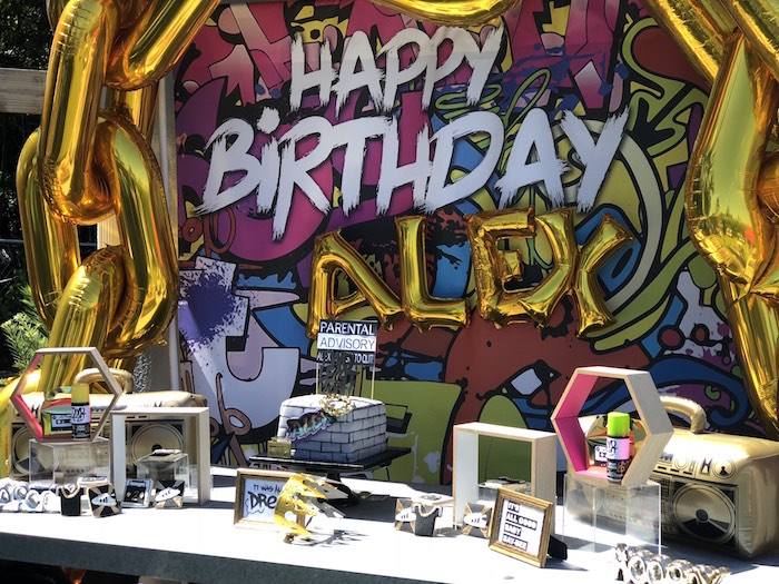 "Graffiti Dessert Table from a ""TWO Legit to Quit"" 90's Rapper 2nd Birthday Party on Kara's Party Ideas 