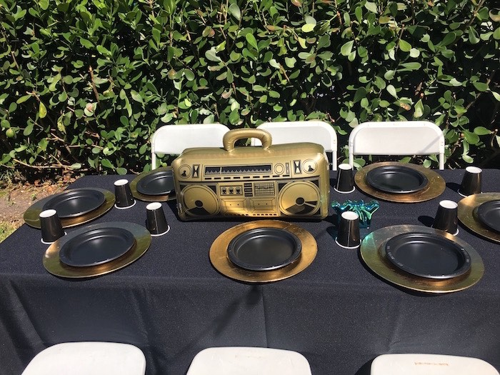 "Inflatable Boombox Party Table from a ""TWO Legit to Quit"" 90's Rapper 2nd Birthday Party on Kara's Party Ideas 