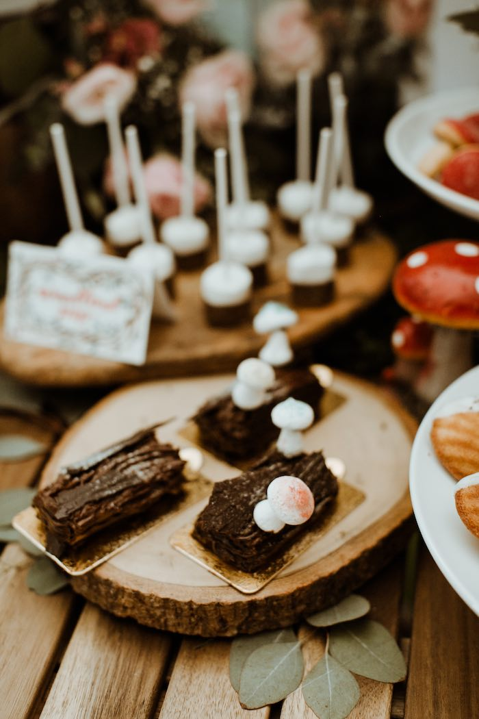 Woodland Stump Desserts from an Enchanted Woodland Forest Birthday Party on Kara's Party Ideas | KarasPartyIdeas.com