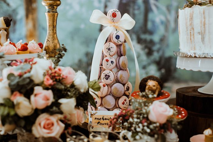 Enchanted Macaron Tower from an Enchanted Woodland Forest Birthday Party on Kara's Party Ideas | KarasPartyIdeas.com