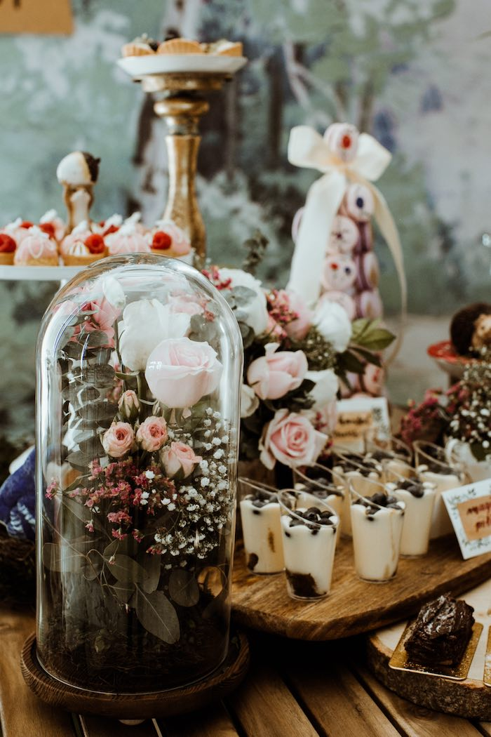 Domed Blooms from an Enchanted Woodland Forest Birthday Party on Kara's Party Ideas | KarasPartyIdeas.com