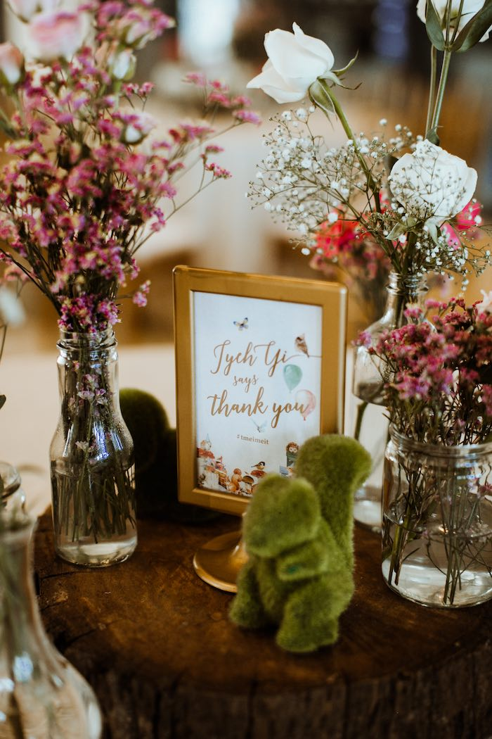 Woodland Blooms + Decor from an Enchanted Woodland Forest Birthday Party on Kara's Party Ideas | KarasPartyIdeas.com