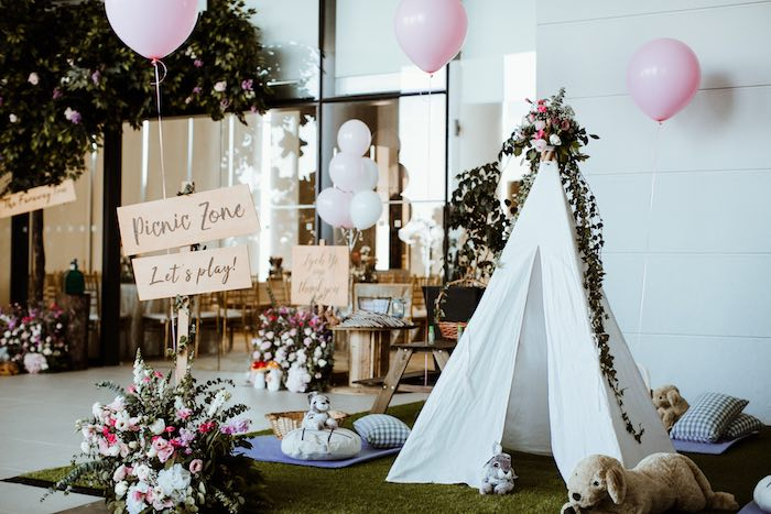 Picnic Area from an Enchanted Woodland Forest Birthday Party on Kara's Party Ideas | KarasPartyIdeas.com