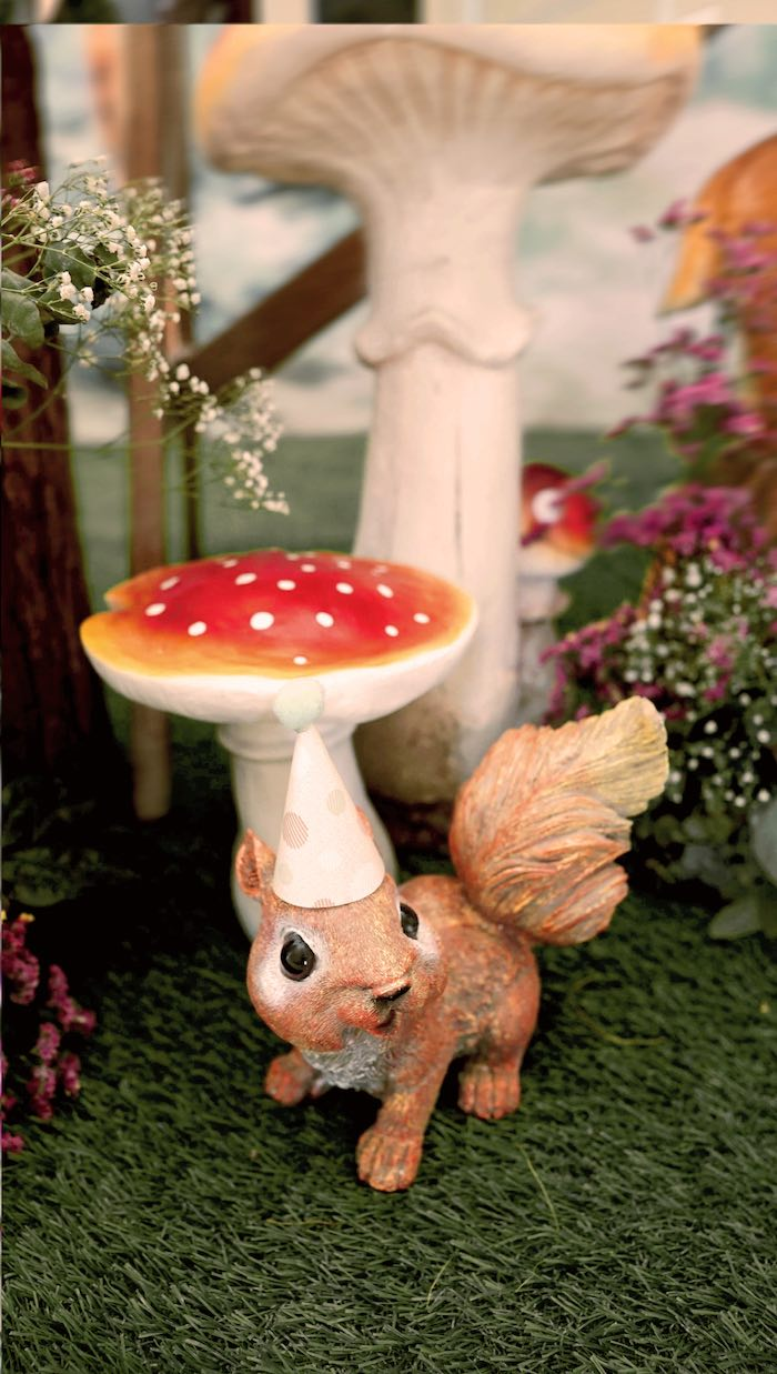 Toadstools and Squirrel from an Enchanted Woodland Forest Birthday Party on Kara's Party Ideas | KarasPartyIdeas.com