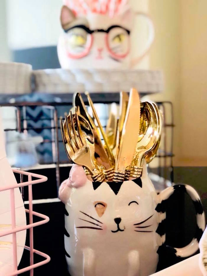 Gold utensils in a cat cup from A Purrfect Pawty Kitty Cat Birthday Party on Kara's Party Ideas | KarasPartyIdeas.com (27)