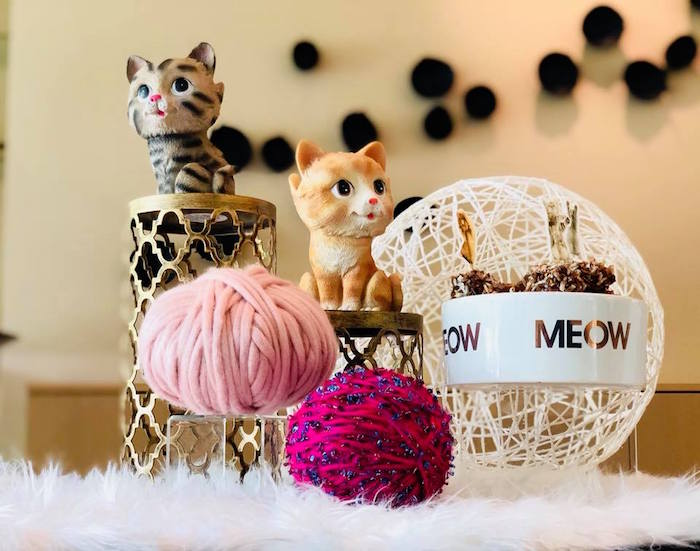 Cat Themed Table Centerpiece from A Purrfect Pawty Kitty Cat Birthday Party on Kara's Party Ideas | KarasPartyIdeas.com (25)