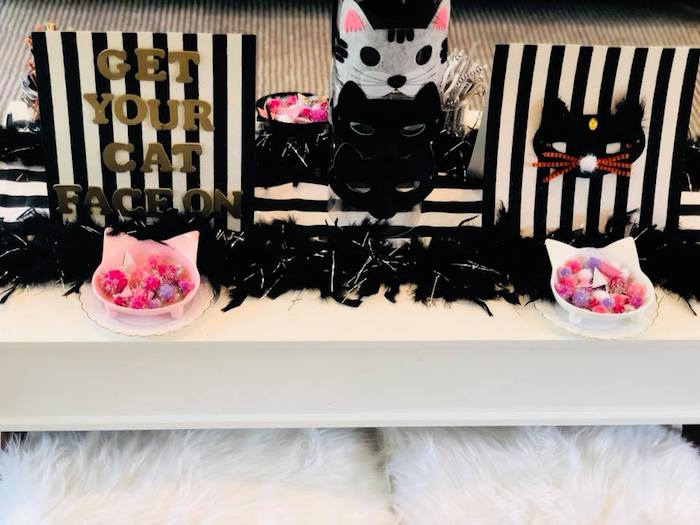 Get Your Cat Face On - Mask Making Station from A Purrfect Pawty Kitty Cat Birthday Party on Kara's Party Ideas | KarasPartyIdeas.com (24)