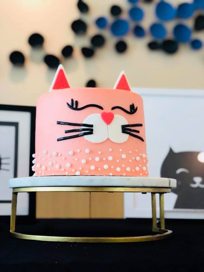Cat Cake from A Purrfect Pawty Kitty Cat Birthday Party on Kara's Party Ideas | KarasPartyIdeas.com (15)