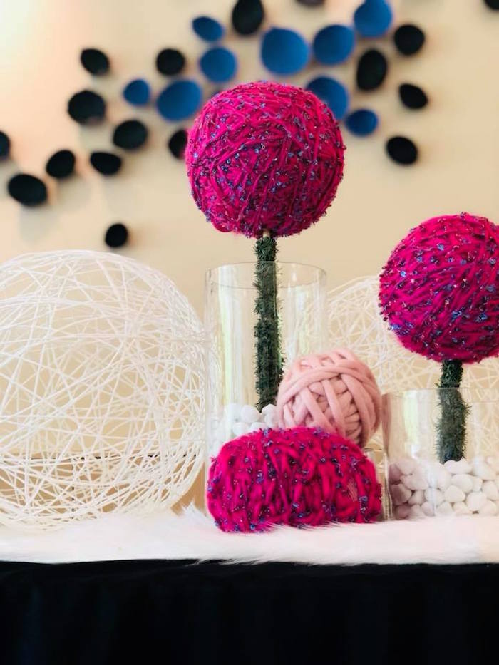 Yarn Ball Poms from A Purrfect Pawty Kitty Cat Birthday Party on Kara's Party Ideas | KarasPartyIdeas.com (13)