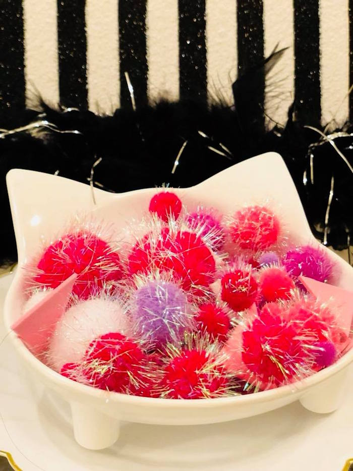 Cat Bowl of Poms from A Purrfect Pawty Kitty Cat Birthday Party on Kara's Party Ideas | KarasPartyIdeas.com (11)