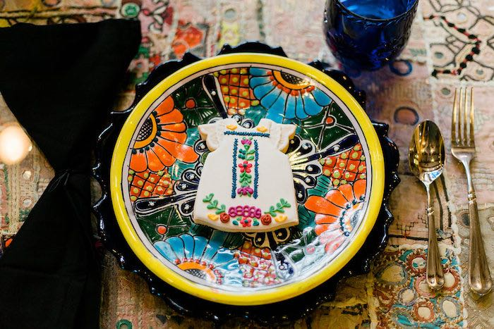 Mexican Glass Plate from an Alebrije Mexican Folk Art Inspired Baby Shower on Kara's Party Ideas | KarasPartyIdeas.com (36)