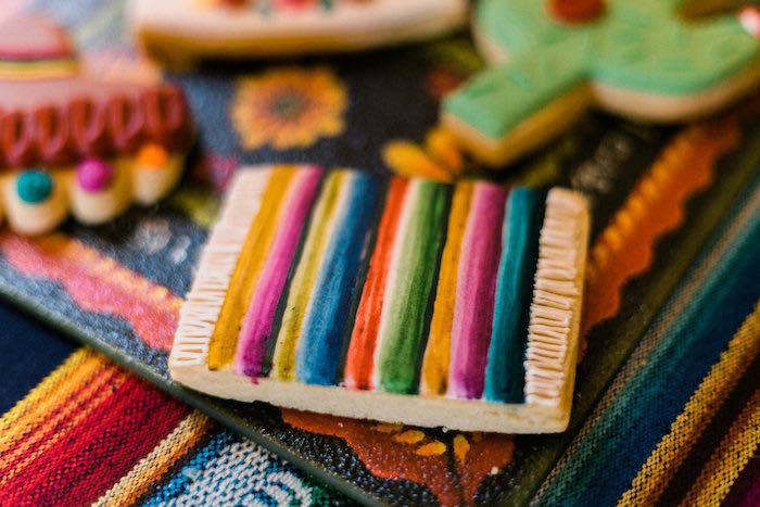 Mexican Blanket Cookie from an Alebrije Mexican Folk Art Inspired Baby Shower on Kara's Party Ideas | KarasPartyIdeas.com (18)