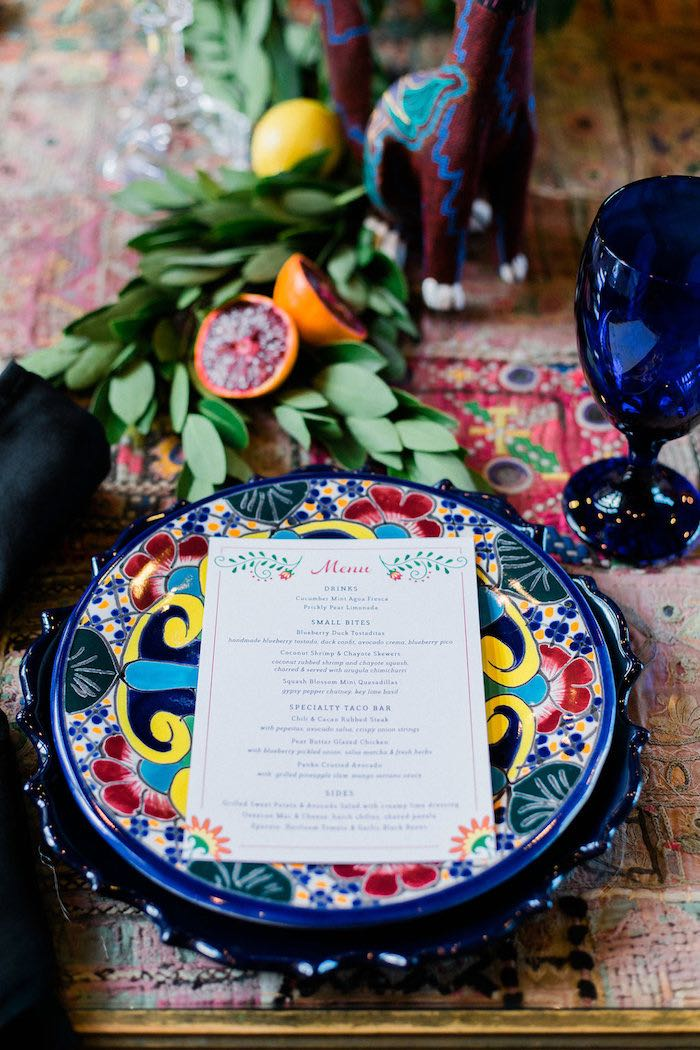 Mexican Themed Table Setting from an Alebrije Mexican Folk Art Inspired Baby Shower on Kara's Party Ideas | KarasPartyIdeas.com (46)