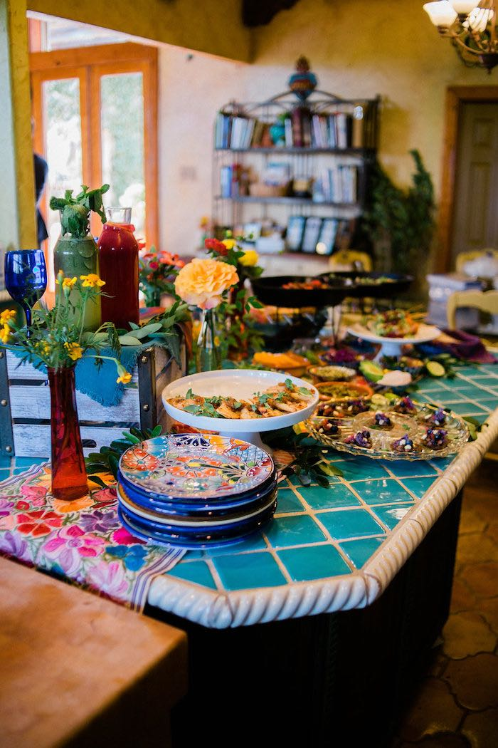 Mexican Food Table from an Alebrije Mexican Folk Art Inspired Baby Shower on Kara's Party Ideas | KarasPartyIdeas.com (6)